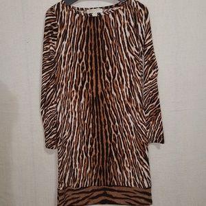 Michael Kors Tiger Print Long Sleeve Dress S